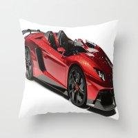 lamborghini Throw Pillows featuring Lamborghini Veneno by rosita