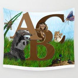 ABC nursery animal print, by Barbara Kilgore green, brown, blue Wall Tapestry