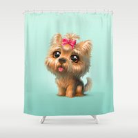 terrier Shower Curtains featuring Yorkshire Terrier by Antracit