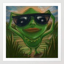 Cool frog with glases Art Print