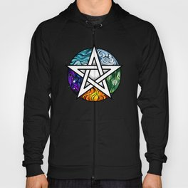 Bright Pentagram on Black Background Hoody