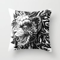lion Throw Pillows featuring Lion by BIOWORKZ
