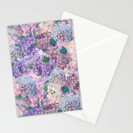 Purple and blue Lilac & Hydrangea - Flower Design Stationery Cards