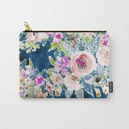 NAVY SO LUSCIOUS Colorful Watercolor Floral Carry-All Pouch