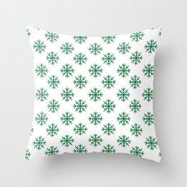 Snowflakes (Olive & White Pattern) Throw Pillow