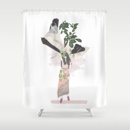 pink & plants 3 Shower Curtain