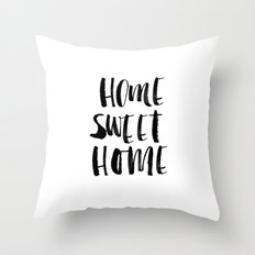 Home Sweet Home Watercolor Typography Throw Pillow