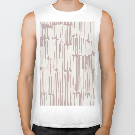 Simply Bamboo Brushstroke Lunar Gray on Clay Pink Biker Tank