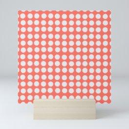 Milk Glass Polka Dots Living Coral Mini Art Print