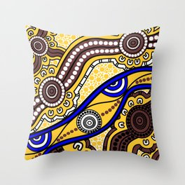 Authentic Aboriginal Art - Welcome to Country Throw Pillow