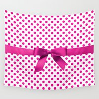 polkadot Wall Tapestries featuring Pink Polkadot - Ribbon by albert Junior