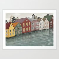 norway Art Prints featuring Norway. by Lu Green