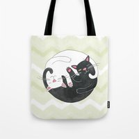 philosophy Tote Bags featuring Cat Philosophy by Emily Andrus Lopuch