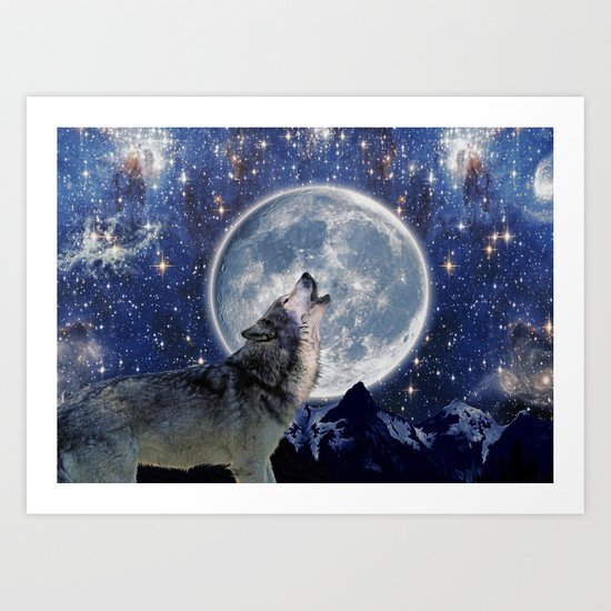A One Wolf Moon Art Print