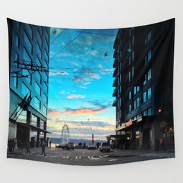 Seattle Summer Sunset Wall Tapestry