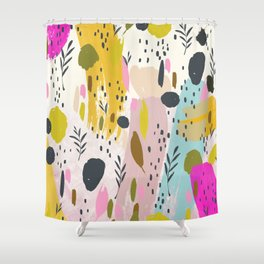Pink And Yellow Abstract Art Trendy Modern Pattern Shower Curtain