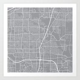 Plano Map, Texas USA - Pewter Art Print