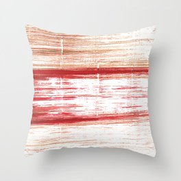 Red striped painting Throw Pillow
