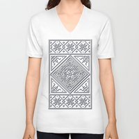 scandinavian V-neck T-shirts featuring Scandinavian Patterns I by Fischer Fine Arts