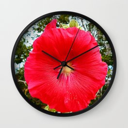 Red Hollyhock Wall Clock