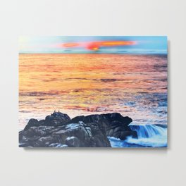 ocean sunset with sunset sky and horizon view Metal Print
