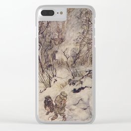 Arthur Rackham - The Wind in the Willows (1940) - Ratty and Mole in the snow Clear iPhone Case