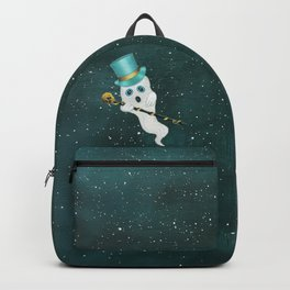 Floating Ghost Top Hat Skull Cane in Night Sky Backpack