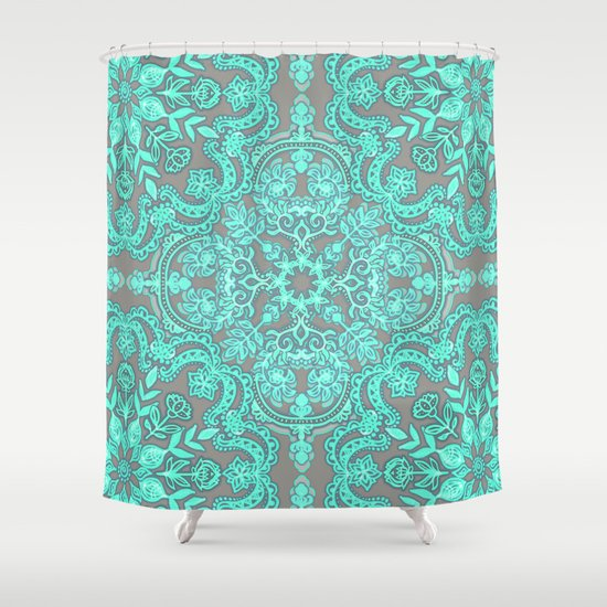 Mint Green Grey Folk Art Pattern Shower Curtain By Micklyn Society6
