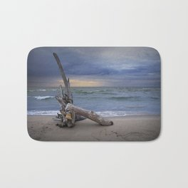 Sunrise on the Beach with Driftwood at Oscoda Michigan Bath Mat