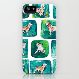Dogs on Spring and Emerald Green Painting iPhone Case