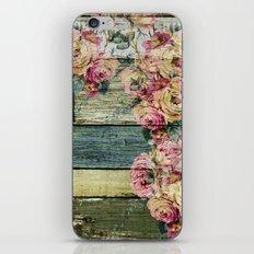 vintage roses on wood iPhone & iPod Skin