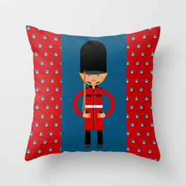 British Bearskin Cap Guard Throw Pillow
