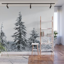 Winter Trees II - Snow Capped Forest Adventure Nature Photography Wall Mural