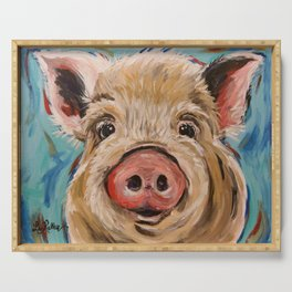 Pig Painting, Colorful Pig Serving Tray