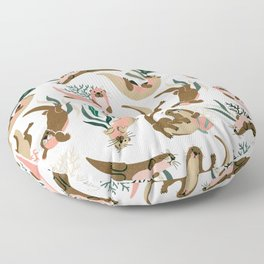 Otter Collection on White Floor Pillow