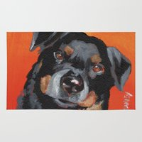 rottweiler Area & Throw Rugs featuring Rottweiler by Stanley Arts