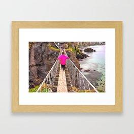 Carrick-a-rede rope bridge, Ireland. (Painting) Framed Art Print
