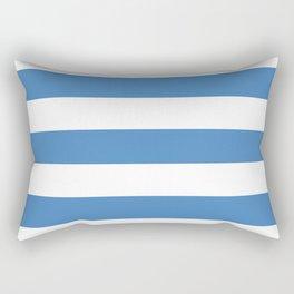Cyan-blue azure - solid color - white stripes pattern Rectangular Pillow