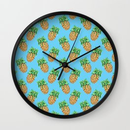 Watercolor Pineapples on Tropical Blue Wall Clock