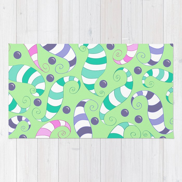 Crazy Twisters Pattern Print Rug