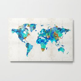 World Map 22 Art by Sharon Cummings Metal Print