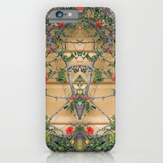 Red flowers on the yellow wall iPhone 6s Slim Case