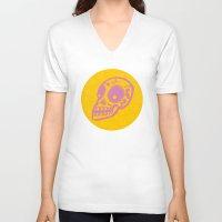 sugar skulls V-neck T-shirts featuring Sugar Skulls by Rhys Prosser