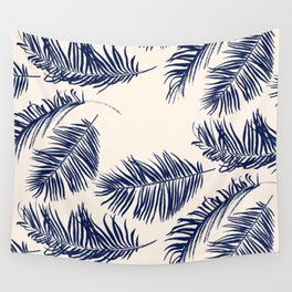Blue Palm Leaves Pattern Wall Tapestry