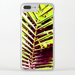 Palm Leaves, Bright Green, Yellow and Magenta Clear iPhone Case