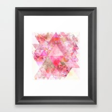 Triangles in pink - Watercolor Illustration pattern Framed Art Print