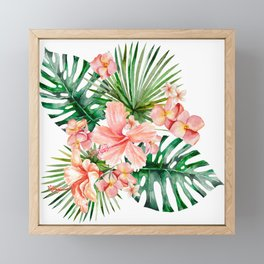 Tropical Jungle Hibiscus Flowers - Floral Framed Mini Art Print