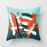 skyline Throw Pillows featuring Skyline by Rafael Galue
