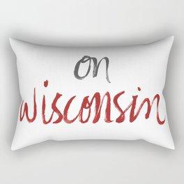 On Wisconsin - Red + Gray Rectangular Pillow
