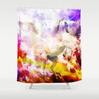unicorn Shower Curtains featuring Unicorn  by haroulita